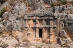 Турция, мирра, захоронение Lycian в горе стоковые изображения