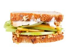 Турция, чеддер, и зеленый сандвич яблока Стоковые Изображения RF