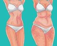 тучная девушка Вес потери на диете или спорте Перед изображением красивейшая потеря принципиальной схемы живота над женщиной веса иллюстрация штока