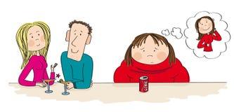 Тучная женщина сидя рядом с парами датировка, чувство самостоятельно иллюстрация вектора
