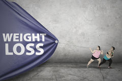Тучное слово потери веса притяжки женщин Стоковое Изображение RF