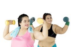 Тучные женщины делая тренировку с гантелью Стоковые Фотографии RF