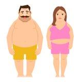 Тучные работая человек и женщина иллюстрация штока
