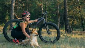 Тучные fatbike велосипеда также вызванные или велосипед тучн-автошины в катании лета в лесе Стоковые Фотографии RF