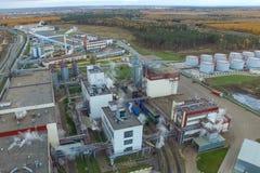 тучный завод Фабрика для обрабатывать сало и масло Промышленное производство еды стоковое изображение