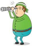 Тучный человек используя телескоп иллюстрация вектора