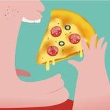 Тучный человек есть пиццу Стоковое Изображение