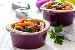Тушёное мясо говядины с морковью Стоковые Изображения