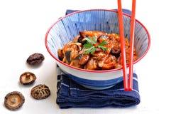 Тушёное мясо капусты с грибами цукини, луков, чеснока, имбиря и шиитаке в пряном томатном соусе Стоковое Изображение