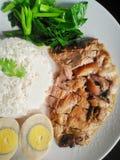 Тушёное мясо ноги свинины над рисом Стоковые Фото