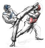 Тхэквондо Полноразрядной иллюстрация нарисованная рукой Стоковая Фотография