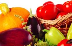 Тыква, баклажан, перец, томат и другие овощи на белой предпосылке Стоковые Фото