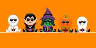 Тыква ведьмы вампира мумии хеллоуина знамени и апельсин солнечных очков призрака иллюстрация вектора