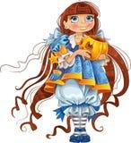 тыква голубой девушки платья милая Стоковое Фото