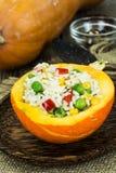 Тыква заполненная с овощами и рисом Стоковая Фотография