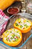 Тыква заполненная с овощами и рисом Стоковое Фото