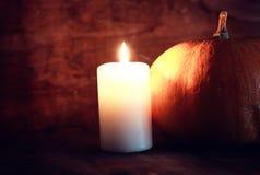 Тыква и свечи дня благодарений Стоковая Фотография RF