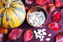 Тыква и семена тыквы Стоковые Фото