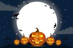 Тыква калебаса праздников хеллоуина перед большой луной с облаком ниже в ноче с звездой полной сини бесплатная иллюстрация