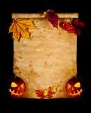 тыква листьев осени старая бумажная Стоковые Изображения RF