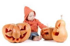 Тыква младенца и хеллоуина Изолировано на белизне Стоковые Фотографии RF