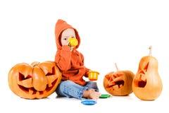 Тыква младенца и хеллоуина Изолировано на белизне Стоковые Изображения RF