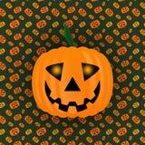 Тыква на хеллоуин на предпосылке текстуры, накаляя глаза, лампа Джек стоковые фото