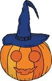 Тыква с ртом и глаза в крышке ` s ведьмы На хеллоуин вектор бесплатная иллюстрация