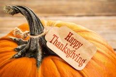 Тыква с счастливой биркой благодарения Стоковое Изображение RF