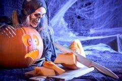 Тыква хеллоуина - открытка Стоковое Фото