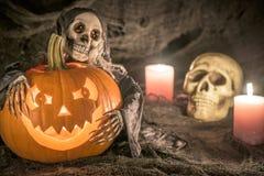 Тыква хеллоуина - открытка Стоковая Фотография