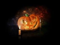Тыква хеллоуина с свечами и листьями иллюстрация штока