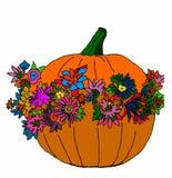 Тыква хеллоуина с цветками на белой предпосылке Стоковые Изображения RF