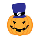 Тыква хеллоуина шаржа с голубой шляпой Стоковая Фотография RF