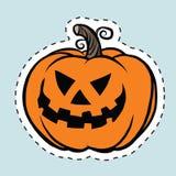 Тыква хеллоуина ярлыка стикера злая иллюстрация вектора