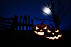 Тыква 2 хеллоуин с страшным Стоковое Изображение