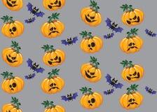 Тыква Halloween и картина летучей мыши безшовная Стоковые Фото