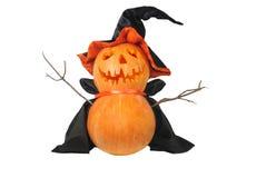 Тыква Halloween с черной шляпой Стоковые Изображения RF