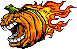 Тыква Jack-O-Фонарика Halloween с пламенами иллюстрация вектора