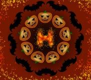 Тыквы и летучие мыши хеллоуина в круге Стоковое Фото