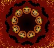 Тыквы и летучие мыши хеллоуина в круге Стоковое фото RF