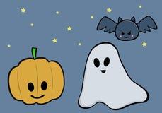 Тыквы, призрак и летучая мышь праздника хеллоуина Бесплатная Иллюстрация