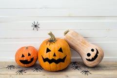 Тыквы с покрашенными сторонами и декоративные пауки на backgrou Стоковое Изображение RF