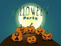 Тыквы хеллоуина на предпосылке голубой луны, иллюстрации Стоковое Изображение