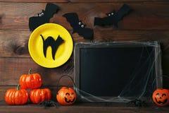 Тыквы хеллоуина с летучими мышами Стоковая Фотография