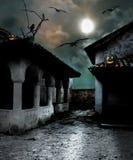 Тыквы хеллоуина в дворе старого дома иллюстрация штока
