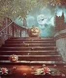 Тыквы хеллоуина в дворе старой каменной ночи лестницы иллюстрация штока