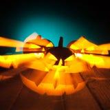 Тыквы хеллоуина накаляя в темноте Стоковое Фото