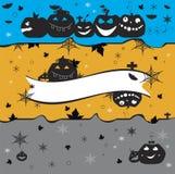 Тыквы хеллоуина на желтые сером и голубой Стоковое Фото