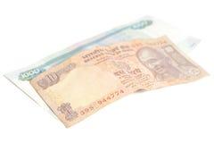 Тысяча русских рублей и 10 индийских рупий Стоковое Изображение RF
